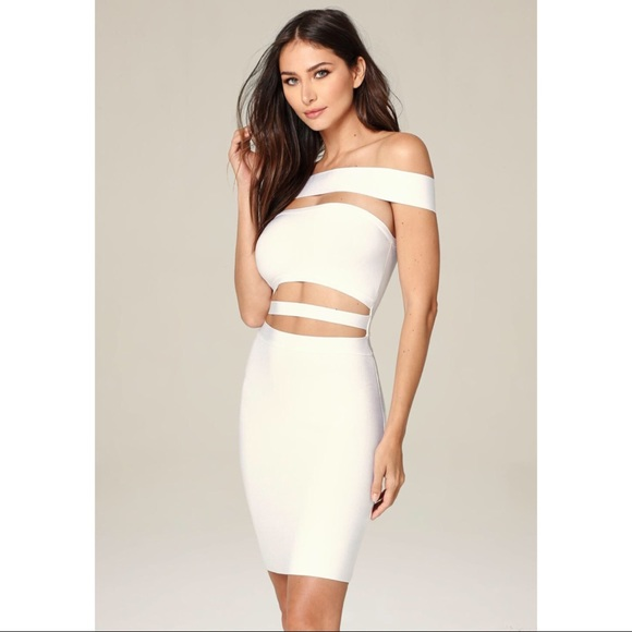 15a5e727708f bebe Dresses   Skirts - Off Shoulder Cutout Dress in White